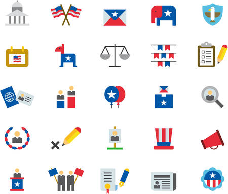 presidential: US PRESIDENTIAL ELECTIONS flat colored icons