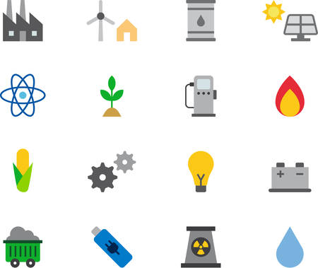 hydro: ENERGY RESOURCES flat colored icons