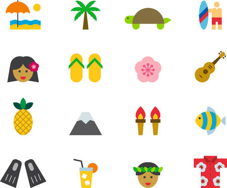 surfboard fin: HAWAII flat colored icons