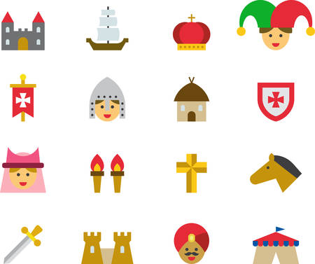 troubadour: MEDIEVAL flat colored icons Illustration