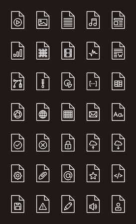 FILES & DOCUMENTS outline icons Illustration