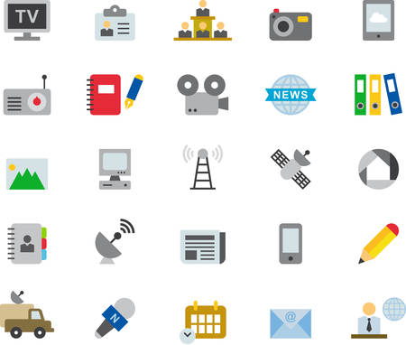 journalism: JOURNALISM, MEDIA & TECHNOLOGY flat colored icons
