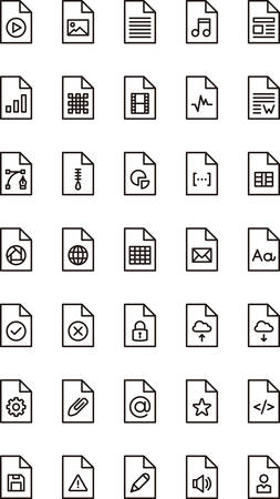 mov: FILES & DOCUMENTS outline icons Illustration