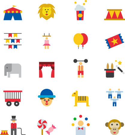 tightrope walker: CIRCUS flat colored icons Illustration