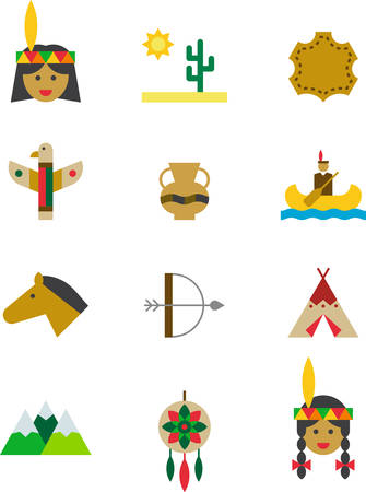 INDIANS NATIVE AMERICANS flat colored icons