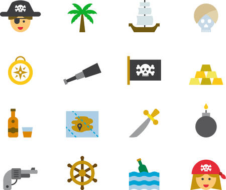 PIRATE flat colored icons Vectores