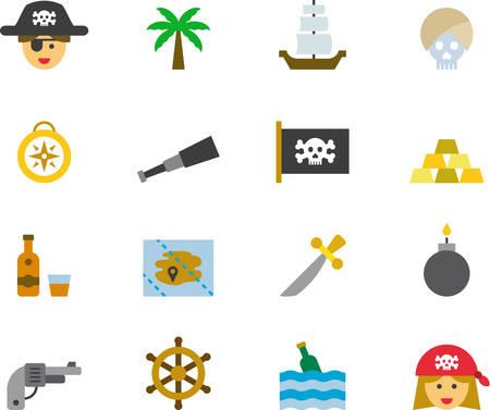 iconos de colores planos PIRATA