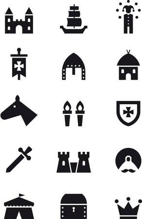 troubadour: MEDIEVAL black icons