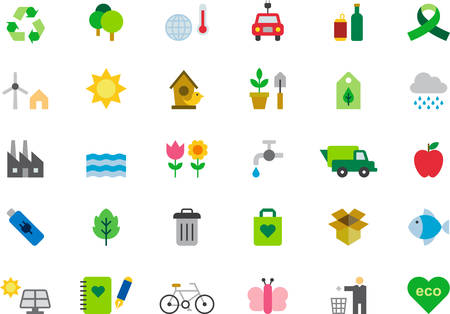environmentalism: ENVIRONMENTALISM & GREEN ISSUES flat colored icons Illustration