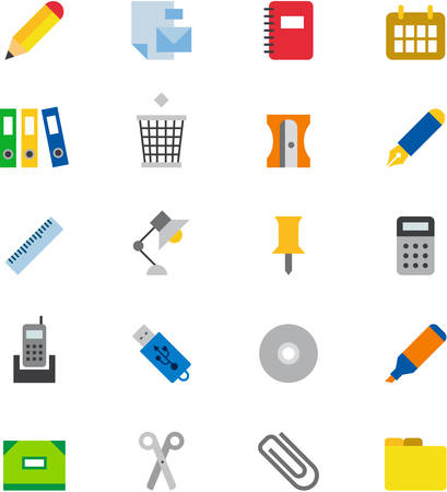 office supplies: OFFICE SUPPLIES flat colored icons