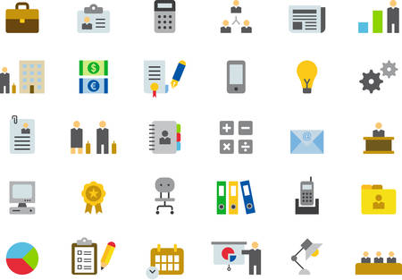 icons business: BUSINESS colored flat icons Illustration