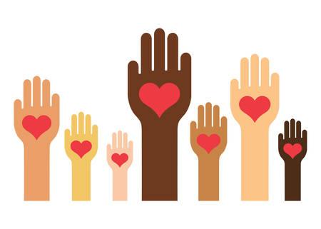 Hands & Hearts (Skin Color Version) Illustration