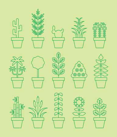 houseplants: HOUSEPLANTS green line icons