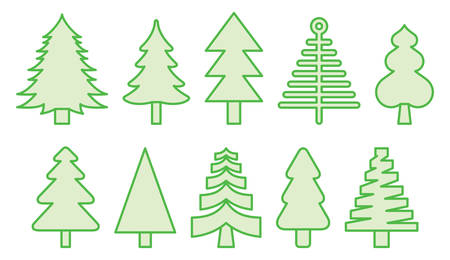 CHRISTMAS TREES Filled Line Icons Vector