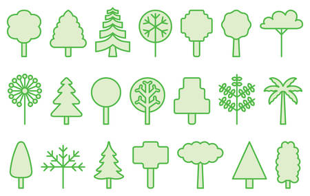 filled: GREEN TREES filled line icons Illustration