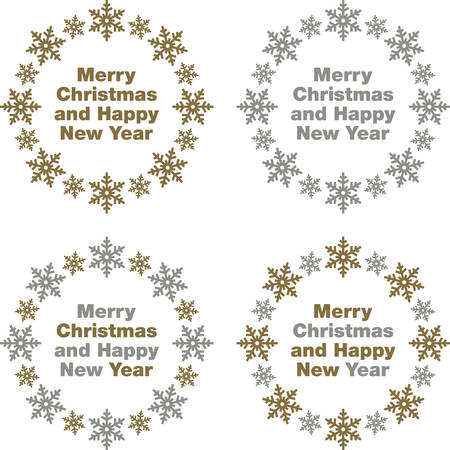 ornamental: Merry Christmas & Happy New Year vector labels