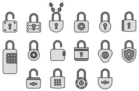 filled: Padlocks filled line icons