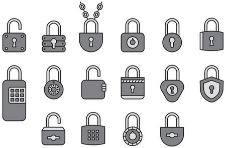 Padlocks - Filled Line Icons Иллюстрация