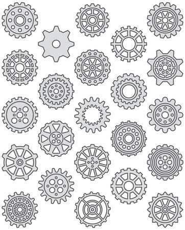 gearwheels: Cogwheels - Filled Line Icons