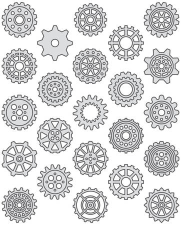Cogwheels - Filled Line Icons