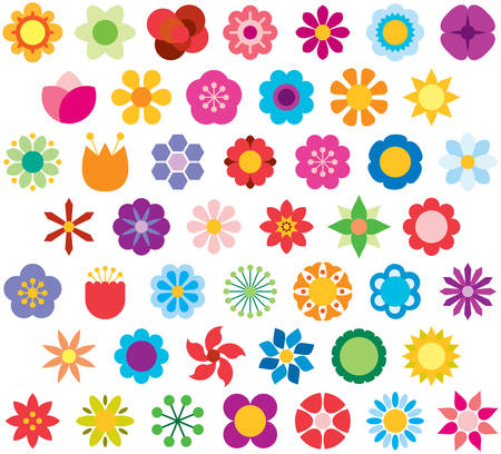 Set of color icons flat FLOWERS