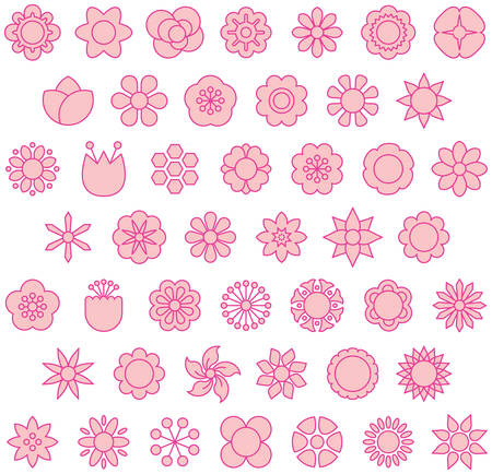 Pink Flowers - Filled Line Icons Illustration
