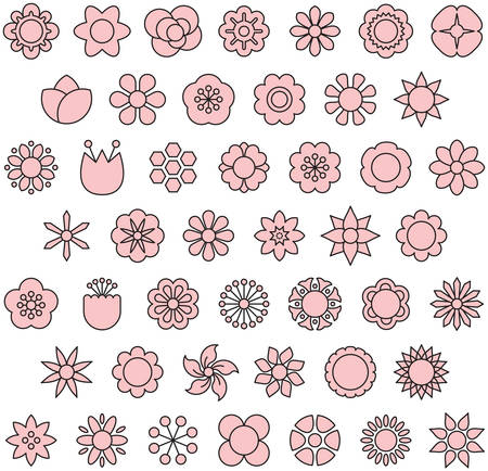 Pink Flowers - Filled Line Icons Иллюстрация