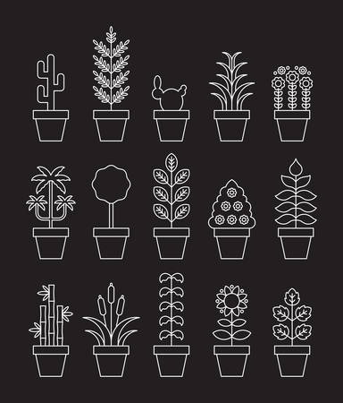 Houseplants - White Line Icons
