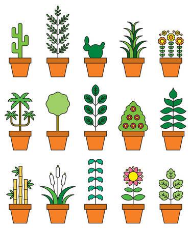 houseplants: HOUSEPLANTS filled line icons