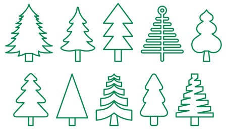 CHRISTMAS TREES Green Outline Icons Stock Vector