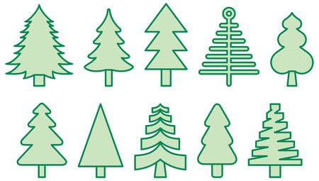 Set of Christmas Trees - Filled Line Icons Иллюстрация