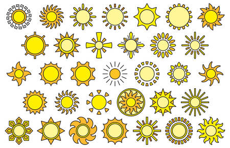 yellow line: YELLOW SUNS filled line icons