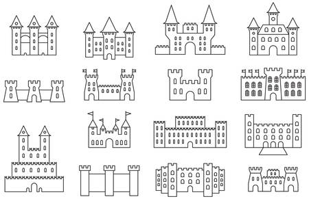 old city: CASTLES & FORTRESS outline icons Illustration