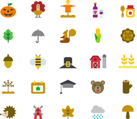 AUTUMN colored flat icons