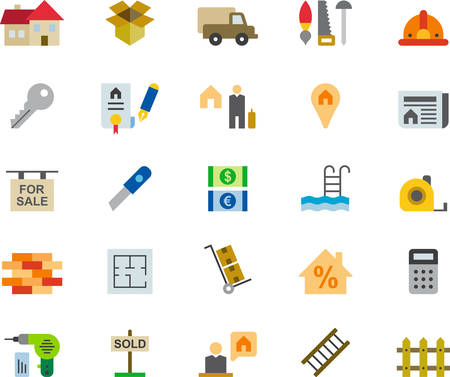 ladder  fence: REAL ESTATE colored flat icons