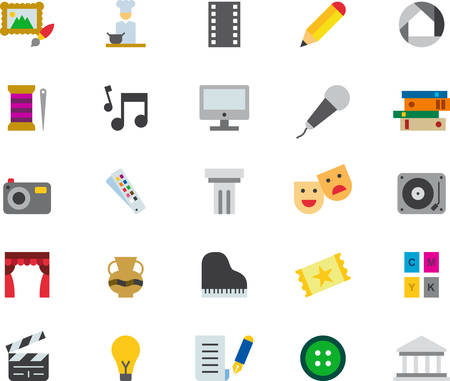 THE ARTS colored flat icons