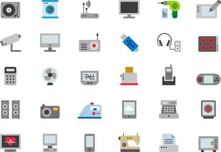 electronic devices: HOME APPLIANCES & ELECTRONIC DEVICES flat colored icons Illustration