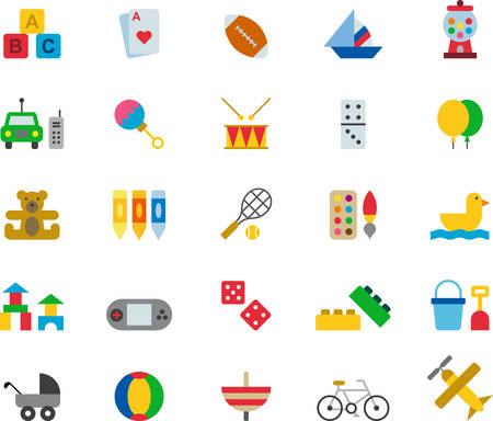 balon de basketball: Toys & Games colored flat icons Vectores