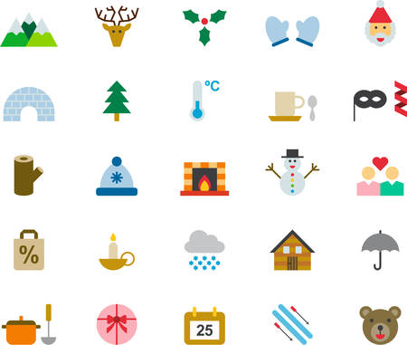 WINTER & CHRISTMAS colored flat icons