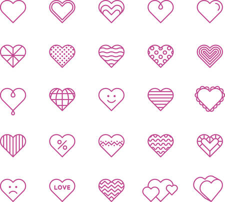 Pink Hearts - Filled Line Icons Иллюстрация