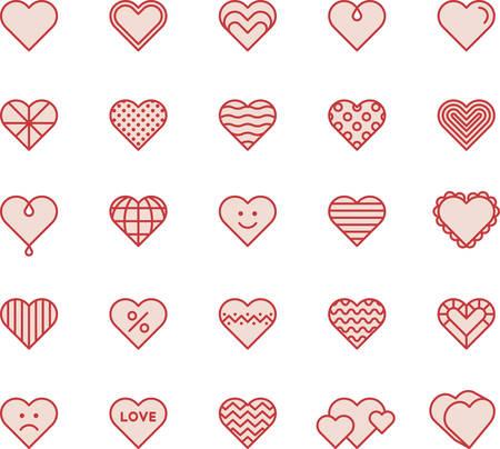 Red Line Filled Hearts Ilustração