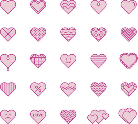 Pink Hearts - Filled Line Icons.