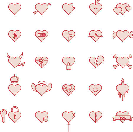Conceptual Red Hearts - Filled Line Icons.