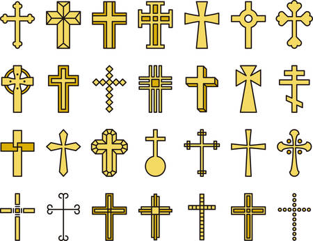 religion catolica: CRUCES iconos de líneas lleno