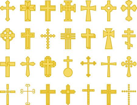 Gelbe Kreuze - Gefüllte Linie Symbole Standard-Bild - 80766493