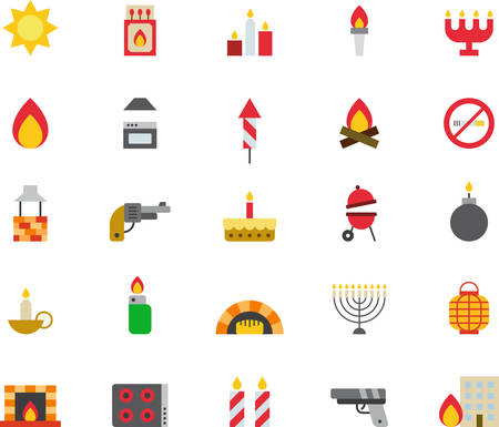 fireplace lighter: FIRE RELATED flat colored icons Illustration
