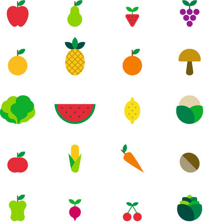 FRUITS & VEGETABLES flat colored icons Illustration