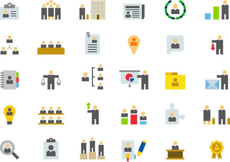 executive search: BUSINESS, HUMAN RESOURCES & MANAGEMENT flat colored icons