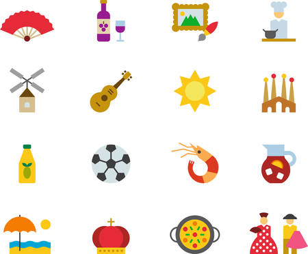 SPAIN colored icons flat pack