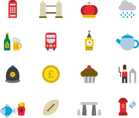 UNITED KINGDOM colored icons flat pack